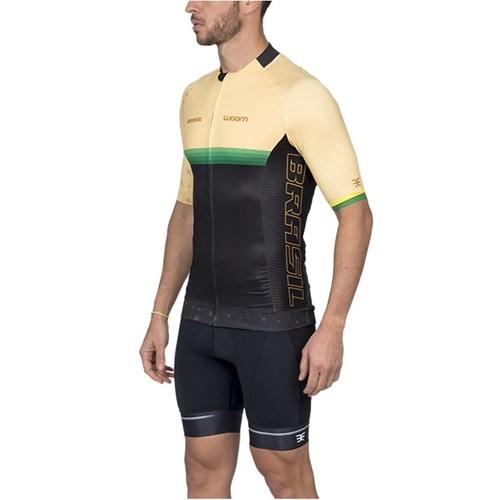 Camisa Ciclismo Masculina Supreme Brasil Amarela Woom