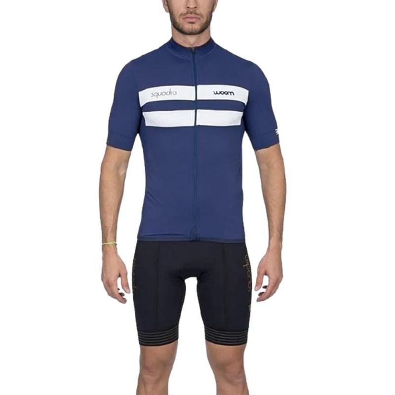 Camisa Ciclismo Squadra 2020 Ravenna Azul Manga Curta Masculina Woom