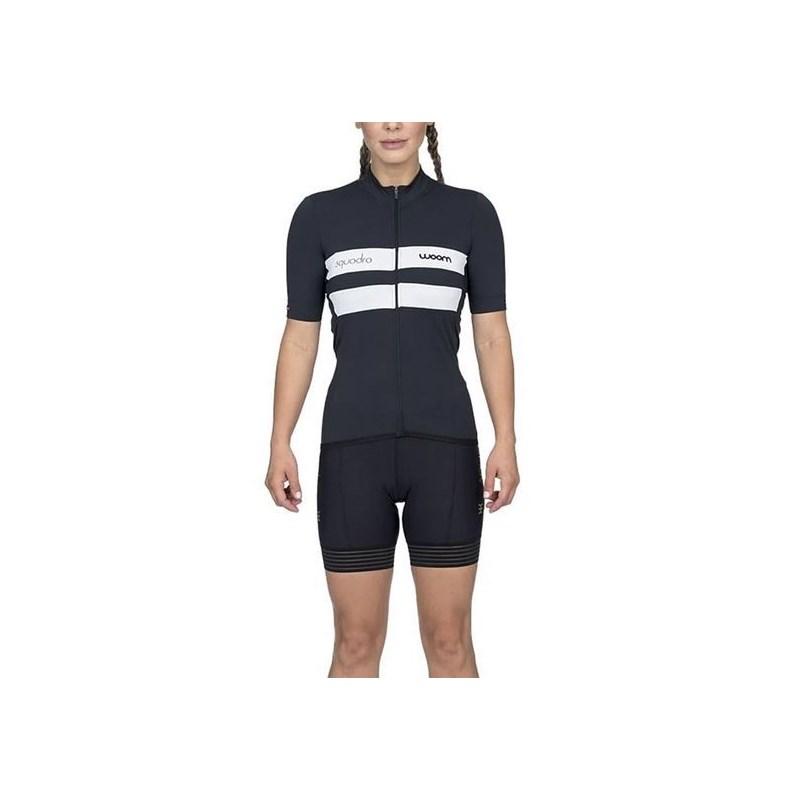 Camisa Ciclismo Squadra 2020 Verona Preta Manga Curta Feminina Woom