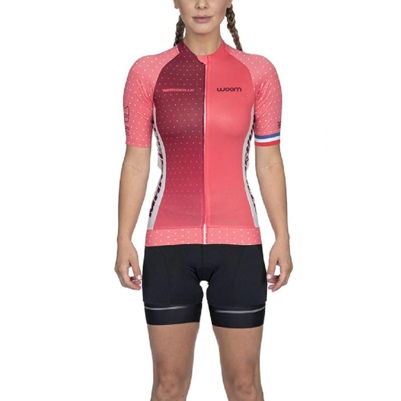Camisa Ciclismo Supreme 2020 Marselle Rosa Manga Curta Feminina Woom