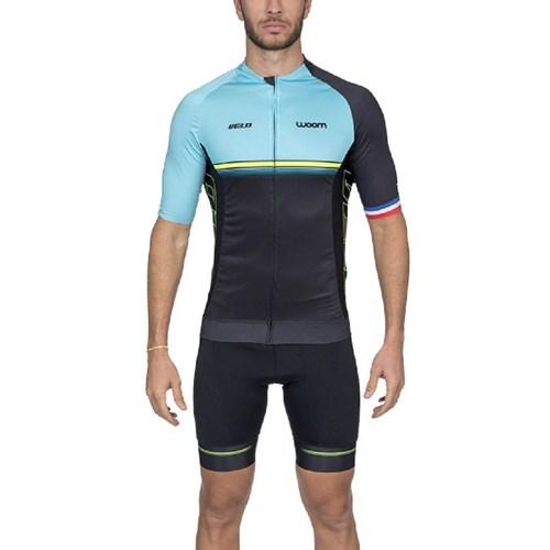 Camisa Ciclismo Supreme 2020 Velo Azul Manga Curta Masculina Woom