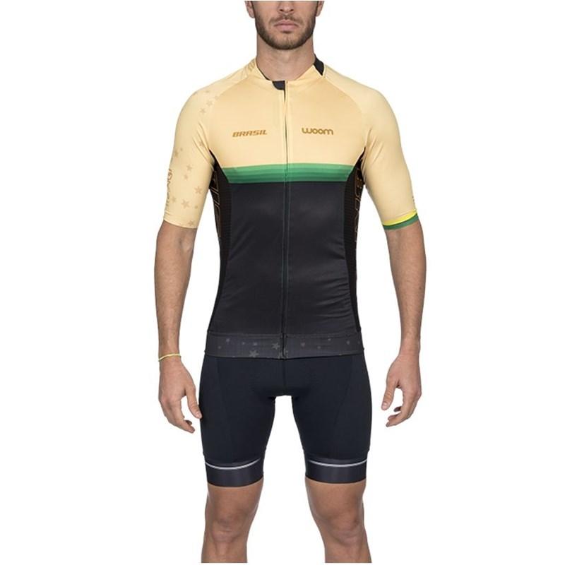 Camisa Ciclismo Supreme Brasil Amarela Manga Curta Masculina Woom