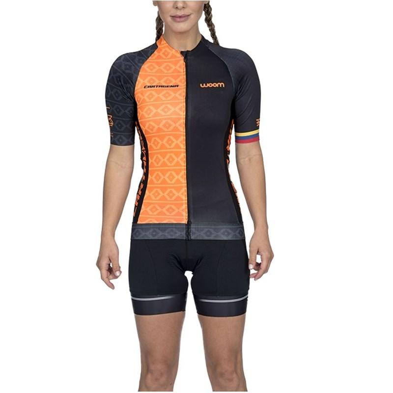 Camisa Ciclismo Supreme Cartagena Laranja Manga Curta Feminina Woom