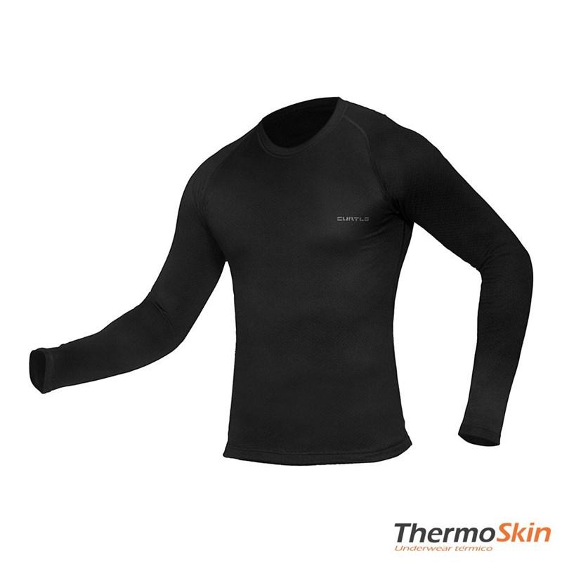 Camisa Segunda Pele Manga Longa Thermo Skin Masculina Preta Curtlo